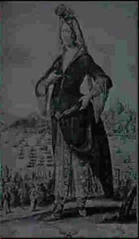 princesse turquesque [&] demoiselle turque    marchant par la rue [med: rehaussees; ca: 1648] by georges de la chappelle